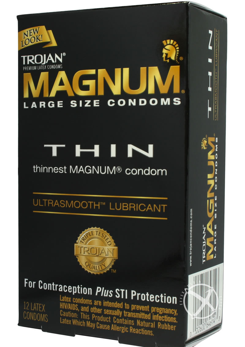 Trojan Condom Magnum Thin Large Size Lubricated 12 Pack